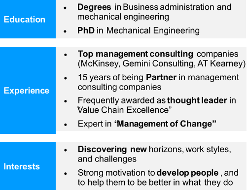 " Degrees in Business administration and  mechanical engineering  PhD in Mechanical Engineering Education Experience  Top  management consulting  companies  (McKinsey, Gemini Consulting, AT Kearney)  15 years of being  Partner in management  consulting companies  Frequently awarded as  thought leader  in  ""Value Chain Excellence""  Expert  in  ""Management of Change""  Discovering  new  horizons,  work styles,  and challenges  Strong motivation to  develop people , and  to help them to be better in what they do Interests"